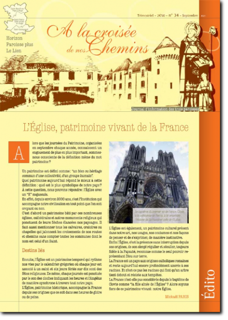 Journal paroissial N° 34 - Septembre 2014