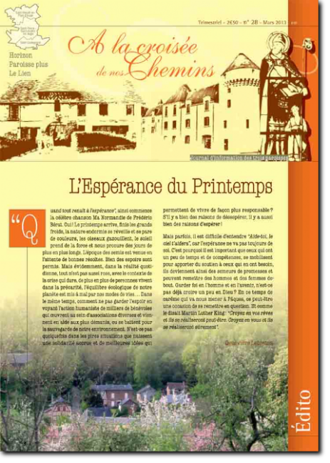Journal paroissial N° 28 - Mars 2013